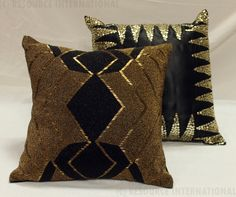 An RI Product, Ful Embroidered cushions. #Sequenced #Fully #Embellished #Cushions #Black #Geometric #Designs.  https://www.facebook.com/resourceintl?fref=ts