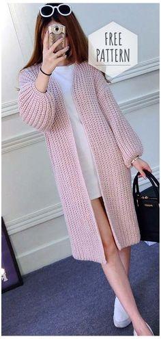 Knitted Cardigan Pattern #knitting #patterns #free #cardigans #women #jackets Knitted Cardigan Pattern Crochet Cardigan Pattern, Crochet Jacket, Sweater Knitting Patterns, Knitting Sweaters, Crochet Patterns, Mittens Pattern, Beginner Knitting Patterns, Knitting Designs, Knitting Ideas