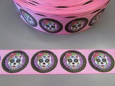 Sugar Skull Gold Grosgrain Ribbon 2.5cm  x 1 Metre  Sewing//Costume//Crafts//Cake
