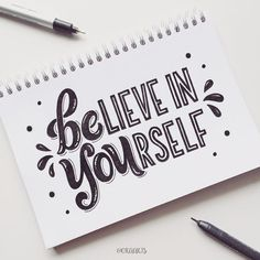 "Ora Siripin on Instagram: ""Believe in yourself & always BE YOU! ✨ 44/365 of my project! #orahandlettering #365daysoflettering . . #letteringwithpositivity…"""
