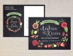 Rustic Boho Floral Save the Date Wedding by PaperInvitations