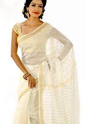 Off White Silk Bengal Handloom Kasavu Saree