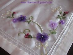 Wonderful Ribbon Embroidery Flowers by Hand Ideas. Enchanting Ribbon Embroidery Flowers by Hand Ideas. Ribbon Embroidery Tutorial, Silk Ribbon Embroidery, Hand Embroidery, Embroidery Boutique, Cross Stitch Embroidery, Embroidery Patterns, Brazilian Embroidery, Ribbon Art, Handmade Flowers