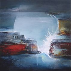 Artwork. 'Defiance II' Abstract Landscape Oil Painting on board. 61cms x 61cms. Depicting the Limestone coastline and harbour defenses found along the South Wales coastline. Natures own stance before the relentless storms each year.