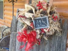 Christmas wreath burlap wreath burlap by Thefrontporch1950 on Etsy, $65.00