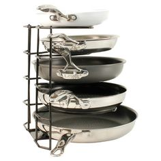 Five-tier pan organizer with non-stick protection.  Product: Pan organizerConstruction Material: Metal