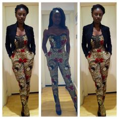 Ankara jumpsuit looks good on you, office outfit suitable for Fridays ball out African Attire, African Wear, African Women, African Dress, African Style, African Clothes, African Inspired Fashion, African Print Fashion, Fashion Prints