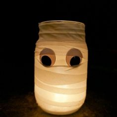 Use Medical Tape to wrap up this Mummy in less than a minute. Stick on googly eyes make this super cute!