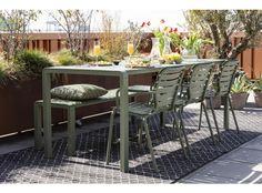 Tuinset Vondel 169 cm groen   DEBA Meubelen Garden Table, Garden Chairs, Mantel Azul, Outdoor Tables, Outdoor Decor, Enjoy The Sunshine, Table Sizes, Outdoor Settings, Small Patio