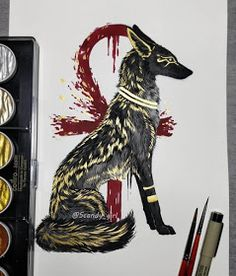 Mythology and Fantasy in Animal Paintings Animal Paintings, Animal Drawings, Art Drawings, Fantasy Wesen, Fantasy Art, Egyptian Tattoo, Egyptian Art, Tier Wolf, Mythical Creatures Art