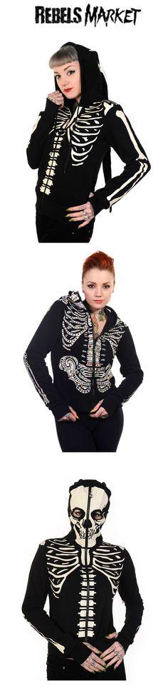 Shop women's skeleton hoodies at RebelsMarket!