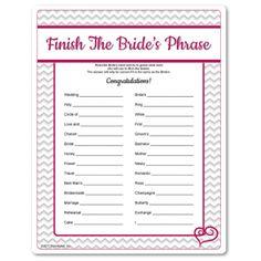 Printable Finish The Bride's Phrase