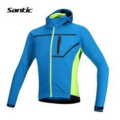 69.36$  Buy here - http://ali6bn.worldwells.pw/go.php?t=32731294525 - Santic Winter Thermal Hooded Cycling Jacket Composite Carbon Fiber Windproof MTB Bike Jersey Sports Windbreaker