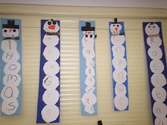 a bunch of cute art projects – including these name snowmen