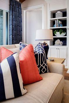 Navy and coral pillows. Navy and coral pillow combination. Navy and coral pillows. Navy and coral pillows. Coral Living Rooms, Living Room Orange, Living Room Decor Colors, Living Room Paint, Living Room Grey, Home Living Room, Creme Sofa, Cream Couch, Sofa Texture