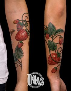 Strawberry tattoos--IF I were to ever get inked, it would be with something like this, but instead, on my shoulder.