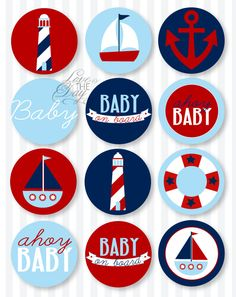 Blue and Red Nautical Baby Shower PRINTABLE Party Circles from Love The Day. $14.00, via Etsy.