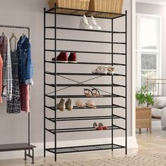 This Metal 70 pair shoe rack from Wayfair Basics is mainly made of high-quality steel pipe coated with an advanced finish, waterproof and rustproof. Shoe Rack For Sale, Large Shoe Rack, Shoe Racks, Shoe Storage Cabinet, Storage Rack, Shoe Rack Wayfair, Shoe Storage Accessories, Shoe Organiser, Stackable Shoe Rack