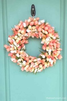21 Diy Easter Wreaths Perfect for Your Front Door. Easter Wreath Diy 23 Best Decorations for Front Door. How to Make A Cute Easter Egg Wreath. How to Make An Easter Wreath Food and Home Entertaining Diy Spring Wreath, Diy Wreath, Wreath Ideas, Wreath Making, Grapevine Wreath, Teal Door, Tulip Wreath, Outdoor Wreaths, Deco Mesh Wreaths