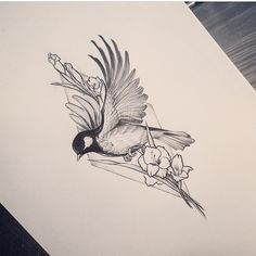 ▷ beautiful tattoo design ideas and how to choose the best for you - Vögel - Tattoo Designs For Women Kunst Tattoos, Tattoo Drawings, Body Art Tattoos, New Tattoos, Sleeve Tattoos, Tattoo Arm, Sketch Tattoo, Famous Tattoos, Bird Drawings