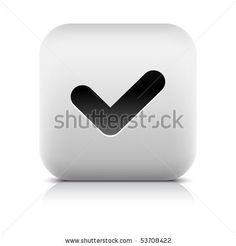 All web button this series internet icon http://www.shutterstock.com/sets/101711-stone-white-button.html?rid=498844 — Stone internet web button check sign. White rounded square shape with shadow and reflection. White background — #Royalty #free #stock #vector #illustration for $0.28 per download