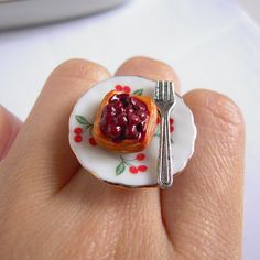 Cherry Danish Ring Miniature Pastry Ring Cute Food Adjustable Ring