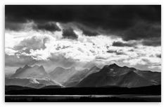 Mountains Black and White Landscape wallpaper