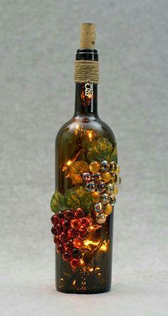 on Etsy wine bottle crafts by Empty Wine Bottles, Wine Bottle Corks, Glass Bottle Crafts, Painted Wine Bottles, Lighted Wine Bottles, Diy Bottle, Bottle Lights, Bottles And Jars, Decorated Wine Bottles