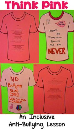 Runde's Room: Think Pink - Take a Stand Against Bullying - includes lesson ideas for students to complete an I am Poem and decorate a T-shirt with an anti-bullying theme. October is Bullying Prevention Month. Anti Bullying Lessons, Bullying Activities, Activities For Kids, Anti Bullying Programs, Interactive Math Journals, Pink Day, Bullying Prevention, Character Education, Character Development
