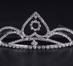 Shiny Rhinestone Reverse Heart Shape Girl Wedding Prom Tiara Crown Headband