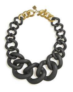 Beautifully crafted resin chunky links make a serious style statement necklace.A blacklink necklace for the cool confident girl. 19in long, 3in extender resin