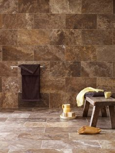 Tempest Honed Filled Travertine from Mandarin Stone: A dramatic movement of mocha shades intertwined with caramels, for a rich and decorative stone choice. #bathroom #stone http://www.mandarinstone.com/product/_/455/tempest-honed-filled-travertine-tile/