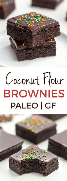 These delicious and easy coconut flour brownies are super fudgy and nobody will believe that they're paleo, let alone gluten-free, grain-free, nut-free and dairy-free! With a how-to recipe video. Gluten Free Sweets, Paleo Dessert, Healthy Sweets, Vegan Desserts, Gluten Free Recipes, Dessert Recipes, Kosher Desserts, Healthy Eating, Paleo Brownies