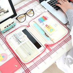 In love!!! Ipad Mini Galaxynote 8.0 Soft Multi Pouch Organizer Pencil Case Travel Korean   eBay