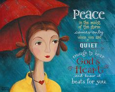 Peace in the Storm - 8x10 Art Print Scripture Christian Inspirational Girl in the Rain