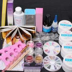 20 in 1 Pro Nail Art Pink Clear White UV Gel Kit UV Brush Buffer Guide Toe Seperator Glitter Powders Tool Nail Tips Glue DIY Set -168 *** Find out more about the great product at the image link.