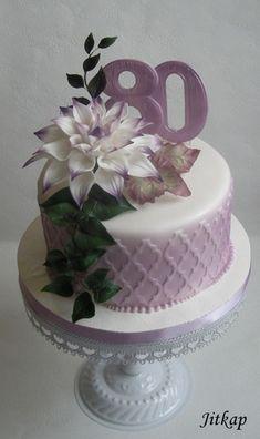 Narozeninový s květem jiřiny - Cake by Jitkap Bithday Cake, 80 Birthday Cake, Birthday Cakes For Women, Elegant Birthday Cakes, Beautiful Birthday Cakes, Beautiful Cakes, Fondant Cakes, Cupcake Cakes, Cupcakes
