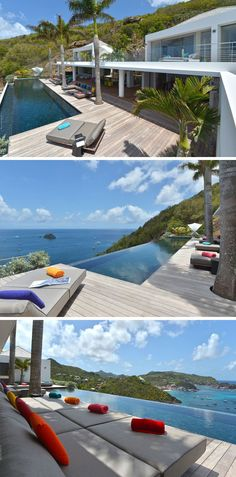 This villa has a 20 meter long, heated infinity pool looking out over the ocean, and areas are dedicated to relaxing on the surrounding deck.