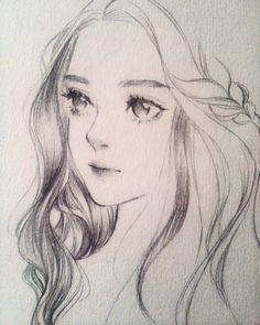 Drawing Pencil Portraits - I wouldnt be surprised if she blinked. Discover The Secrets Of Drawing Realistic Pencil Portraits Anime Drawings Sketches, Pencil Art Drawings, Anime Sketch, Drawing Faces, Cute Drawings, Drawing Hair, Female Face Drawing, Horse Drawings, Manga Drawing