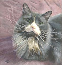 Watercolour Painting by Kate Daniels Contact Kate on katedaniels@scana... to commission a portrait of your cat...