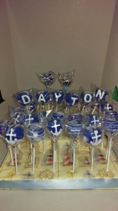 Nautical Baby Shower Cake Pops by Crystals DC Pops...@crystals_DC_pops