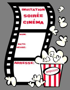 invitation-soirée-cinema                                                                                                                                                                                 Plus Deco Cinema, Cinema Party, Cinema Ticket, Invitation Fete, Party Invitations, Pyjamas Party, Core French, Film Reels, Hollywood Party
