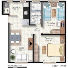 Projetos de casas pequenas com 2 quartos – Projetos de Casas