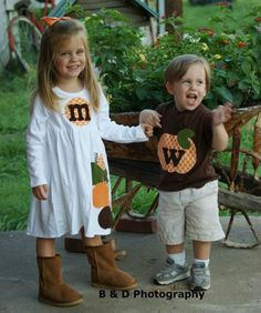 Brother Sister Sibling Set -  Fall Halloween Pumpkin Applique Outfits  - Great for Fall Photo Shoot or Family Pictures. $54.50, via Etsy.