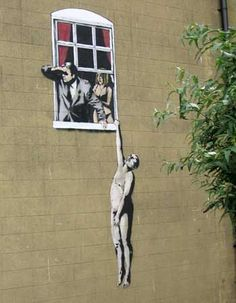 Wonderfully this Banksy was on the wall of the building that used to be the sexual health centre. Most amusing.
