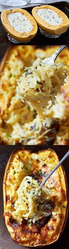 These baked spaghetti squash bowls stuffed with a creamy garlic and sauce are extremely delicious, and super easy to make! If you're looking for a comforting way to enjoy veggies, yo… paleo dinner spaghetti squash New Recipes, Low Carb Recipes, Cooking Recipes, Favorite Recipes, Healthy Recipes, Recipies, Healthy Food, Recipes Dinner, Healthy Meals