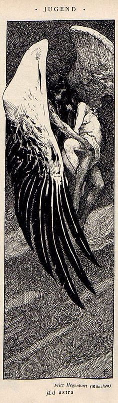 Fritz Hegenbarth, Ad Astra, Jugend magazine, 1899 no. Magazine Illustration, Illustration Art, Vintage Illustrations, Pop Art, Tinta China, Bd Comics, Black And White Illustration, Angels And Demons, Great Artists