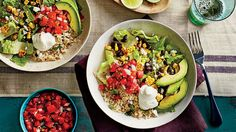 Incredible Burrito Bowl Recipes | Healthy, fast, and delicious? Sign us up. Finding weeknight dinner recipes that are healthy, quick, easy, and kid-friendly can be difficult, but we've found the solution—burrito bowls. Burrito bowls are versatile because you can fill them with any grain, protein, and fresh toppings to fit your family's taste. These homemade burrito bowls are healthier than takeout or restaurant options, and there are endless flavor possibilities with burrito bowl recipes.