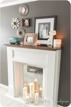 DIY Faux Fireplace via thepursuitofhandyness.com | How To Make Your Home More Cozy