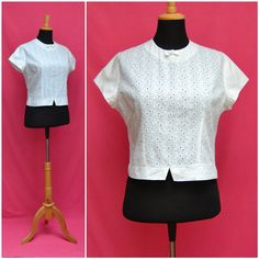 Vintage Blouse1950s 1960s White cropped by VintageGreenClothing, £24.99